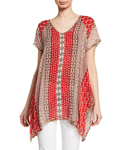 Plus Size Holiday Printed Short-Sleeve Georgette Top