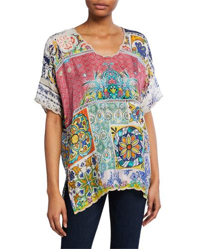 Rosalina Printed Short-Sleeve Silk Georgette Top
