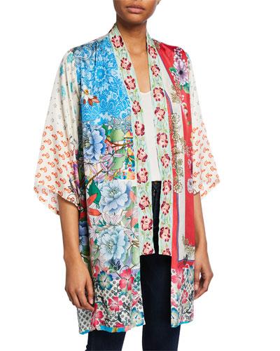 ca84f9736d4f8 Quick Look. Johnny Was · Plus Size Kukui Multi-Patterned Silk Georgette  Kimono