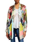 Johnny Was Flower Block Long-Sleeve Silk Kimono Robe
