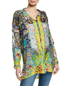 Johnny Was Plus Size Morocca Tile-Printed Button-Front