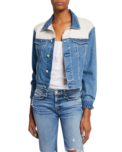 Karly Cropped Denim Jacket w/ Leather