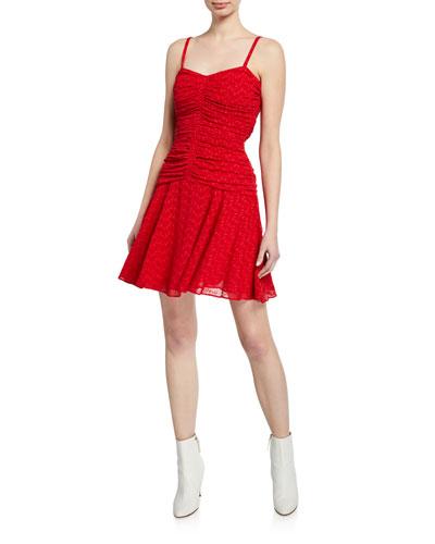 Sweetheart Eyelet Ruched Mini Dress
