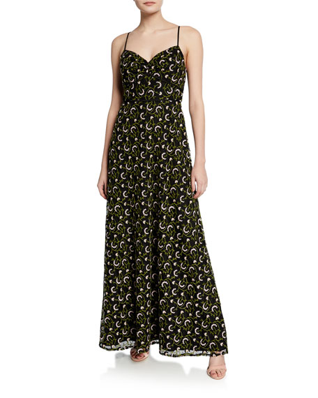 Jill Jill Stuart Embroidered Sweetheart Spaghetti-Strap A-Line Gown