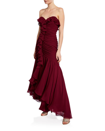 Strapless Sweetheart Ruched-Bustier High-Low Ruffle Gown