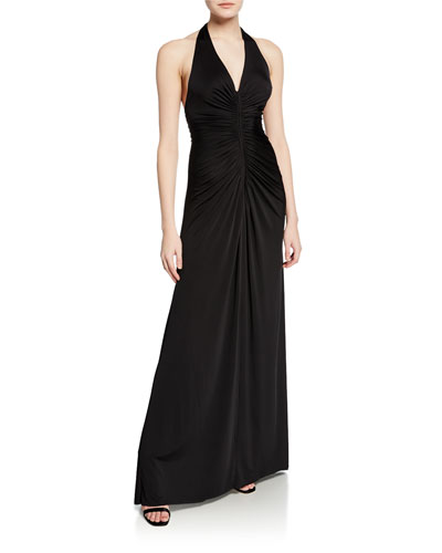 MJ Ruched Halter Gown