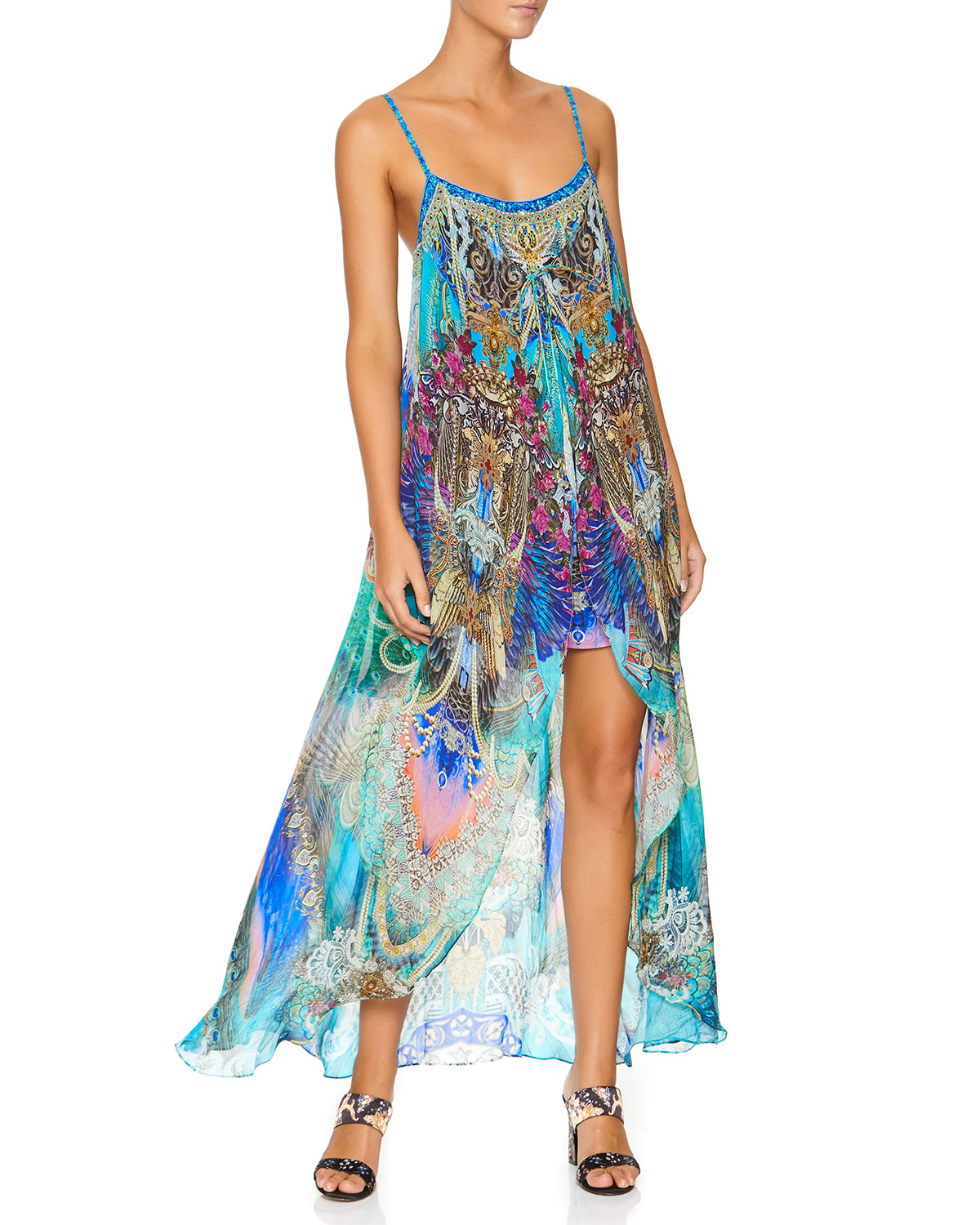 Camilla PRINTED MINI DRESS W/ LONG OVERLAY
