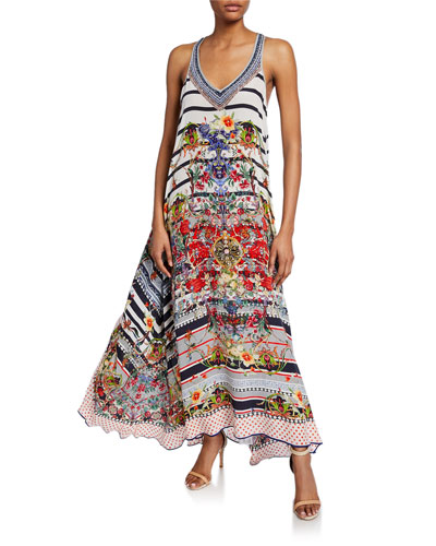 Mixed-Print V-Neck Racerback Silk Maxi Dress