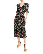 Jill Jill Stuart Floral-Print V-Neck Short-Sleeve Cutout Dress