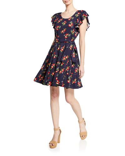 Midnight Floral-Jacquard Flutter-Sleeve Cocktail Dress