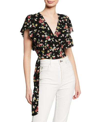 Floral-Print Short-Sleeve Cropped Wrap Top