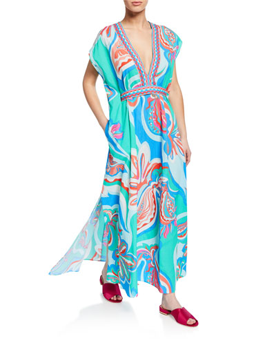 Printed Long Coverup Dress with Belt