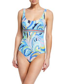 Emilio Pucci Printed Scoop-Neck One-Piece Swimsuit
