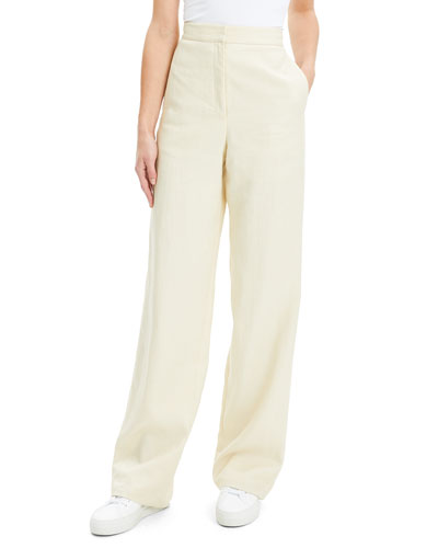 Luxe Linen Clean High-Rise Wide-Leg Trousers