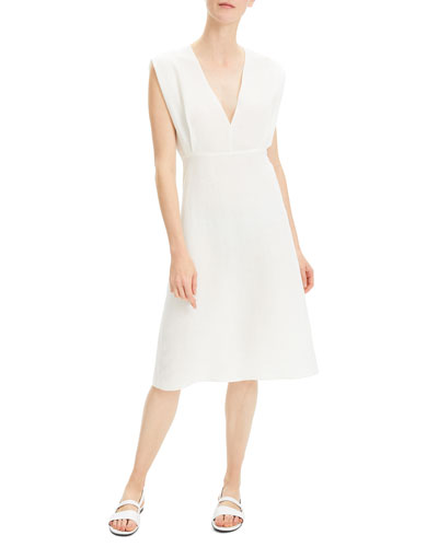 1744b4a1024be Quick Look. Theory · Deep V-Neck Easy Linen Dress