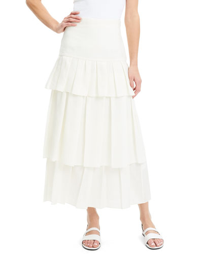 Tiered Linen Maxi Skirt