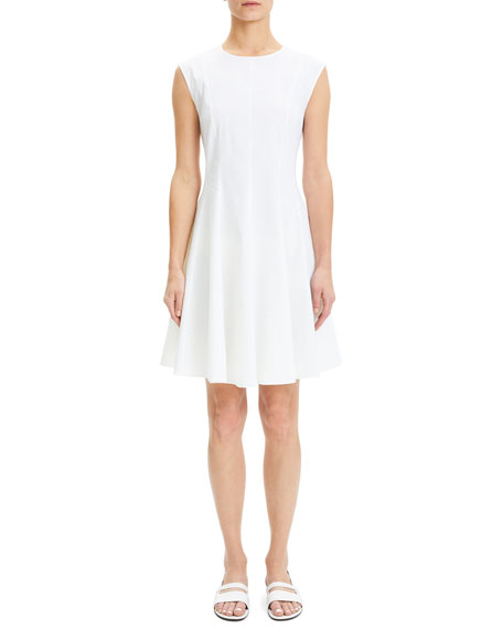 Theory Eco Crunch Crewneck Sleeveless Fit-and-Flare Dress