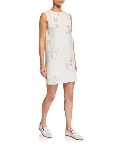 Nature-Print Crewneck Sleeveless Mini Shift Dress