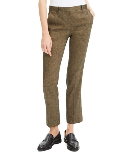 Tailored Textured Straight-Leg Trousers