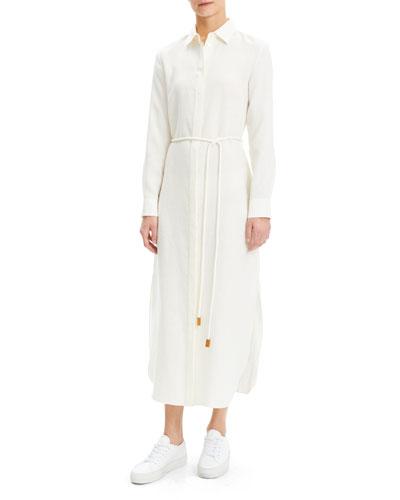 Linen Button-Down Shirtdress with Belt