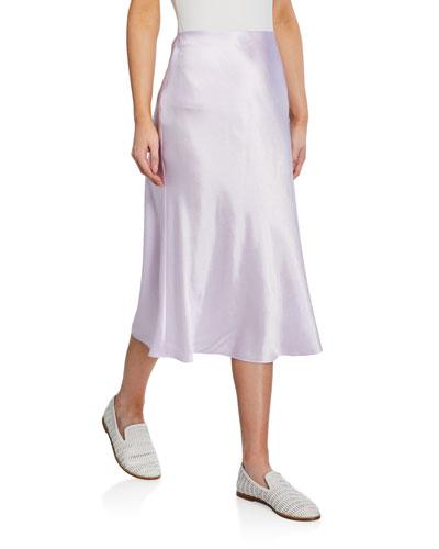 Midi Satin Slip Skirt