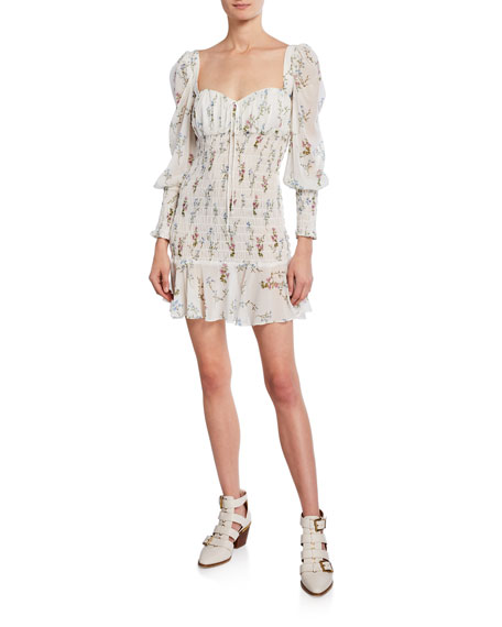 For Love & Lemons Dixon Floral-Print Sweetheart Long-Sleeve Smocked Mini Dress
