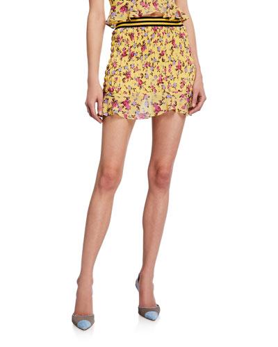 Odette Floral Smocked Mini Skirt
