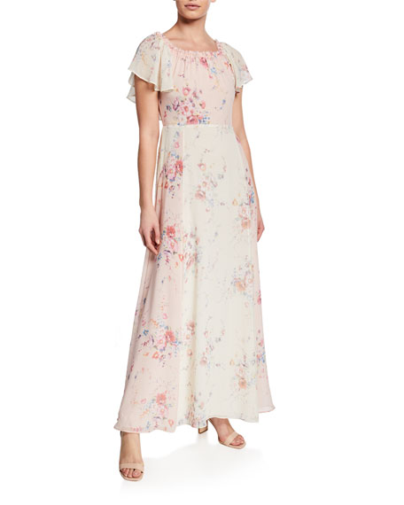 LoveShackFancy Evelyn Silk Faded Floral Off-the-Shoulder Dress