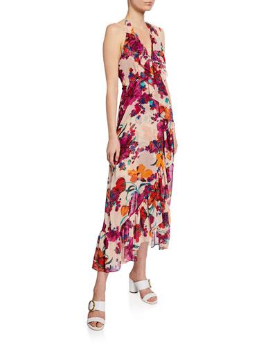 Melany Floral-Print Halter Wrap Dress