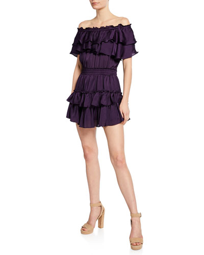 Giada Tiered Ruffle Off-Shoulder Mini Dress
