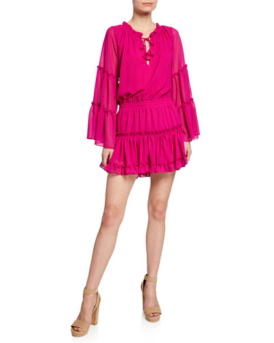 Leeva Bell-Sleeve Chiffon Mini Dress