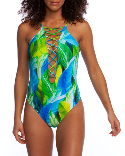 Tropic Of The Day Lace-Up One-Piece Swimsuit