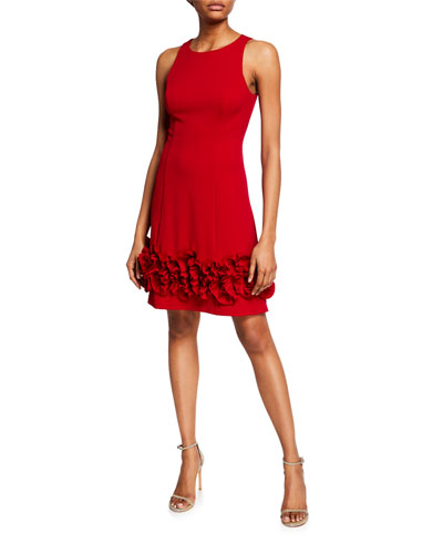 Sleeveless Crepe Cocktail Dress with Ruffle Trim