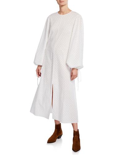Margeaux - Lena Bishop-Sleeve Eyelet Cotton Dress