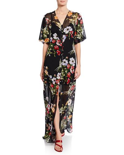 Delphine-Violeta Floral-Print Silk Maxi Dress