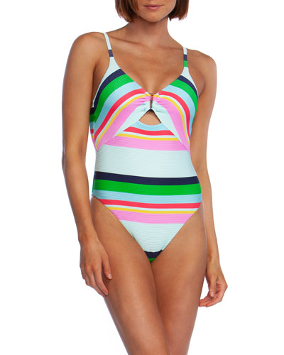 a07a3643cd Quick Look. Trina Turk · Deco Stripe High-Cut One-Piece Swimsuit