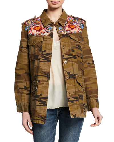 Caila Camo-Print Button-Front Military Jacket w/ Embroidery