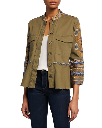 Amika Embroidered Button-Front 3/4-Sleeve Peplum Military Jacket