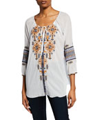 Johnny Was Amika Felipe-Striped Split-Neck 3/4-Sleeve Embroidered