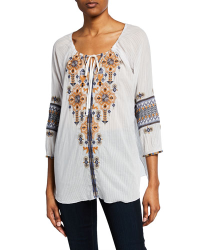 Amika Felipe-Striped Split-Neck 3/4-Sleeve Embroidered Top