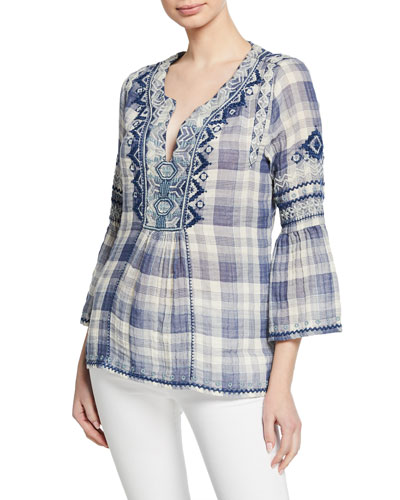 Simonee Plaid V-Neck 3/4-Sleeve Blouse with Embroidery