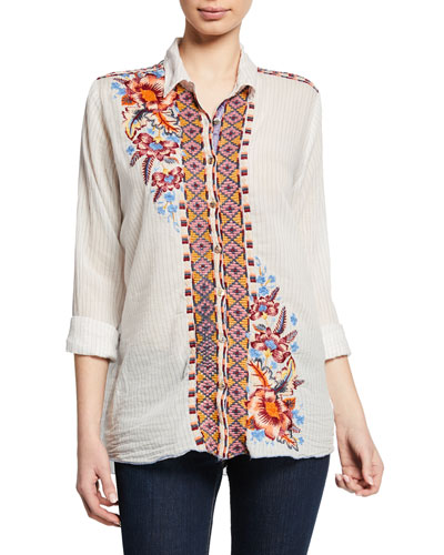 Caila Striped Button-Front Blouse w/ Embroidery