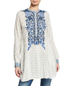 Johnny Was Galatia Embroidered Silk Tunic with Contrasting