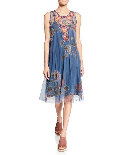 Mosria Floral-Print Sleeveless Mesh Dress w/ Embroidery