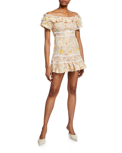 Veronica Floral Lace Off-the-Shoulder Short-Sleeve Mini Dress