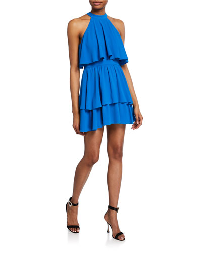 Gianna Crepe Halter Mini Dress