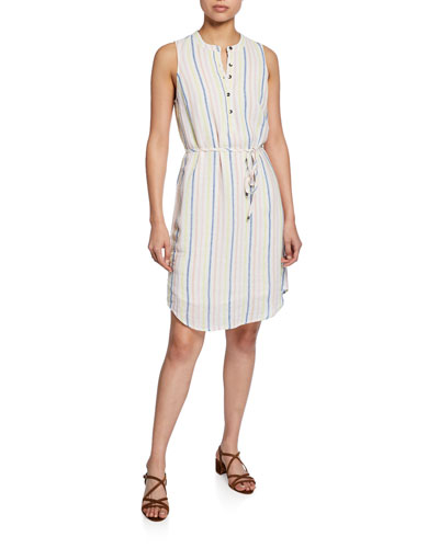 Striped Button-Front Sleeveless Dress