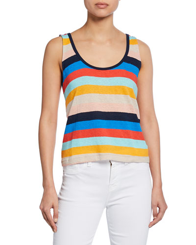 Sunray Striped Scoop-Neck Linen/Cotton Tank