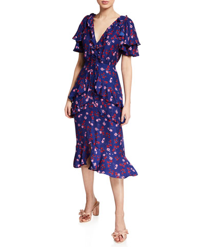 The Yearning Floral-Print Ruffle Midi Dress