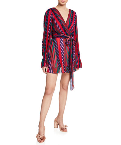 Sugar Spice Striped Long-Sleeve Pleated Mini Dress